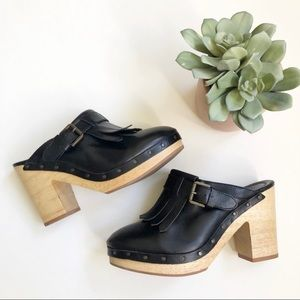 Madewell Kiltie Black Fringe Wooden Leather Clogs✨